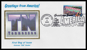 3602 / 34c Tennessee : Greetings From America Nashville, TN Postmark Colorano Silk 2002 First Day Cover