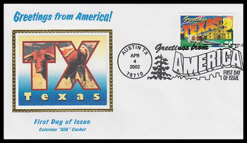 3603 / 34c Texas : Greetings From America Austin, TX Postmark Colorano Silk 2002 First Day Cover