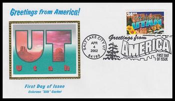 3604 / 34c Utah : Greetings From America Salt Lake City, UT Postmark Colorano Silk 2002 First Day Cover
