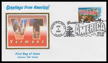3605 / 34c Vermont : Greetings From America Montpelier, VT Postmark Colorano Silk 2002 First Day Cover