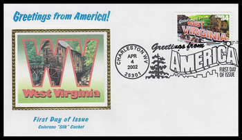 3608 / 34c West Virginia : Greetings From America Charleston, WV Postmark Colorano Silk 2002 First Day Cover