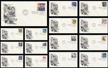 3182a-o / 32c Celebrate The Century ( CTC ) 1900s Set of 15 Artcraft 1998 FDCs
