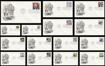 3185a-o / 32c Celebrate The Century ( CTC ) 1930s Set of 15 Artcraft FDCs