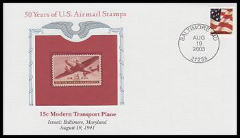 C28 / 15c Modern Transport Plane PCS Commemorative Cover 2002 and Info Card