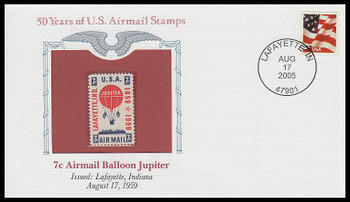 C54 / 7c Airmail Balloon Jupiter PCS Commemorative Cover 2005 and Info Card