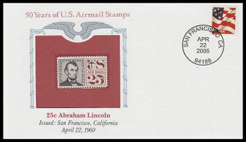 C59 / 25c Abraham Lincoln PCS Commemorative Cover 2005 and Info Card