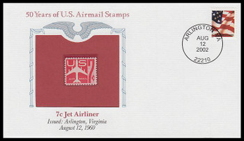 C60 / 7c Jet Airliner PCS Commemorative Cover 2002 and Info Card