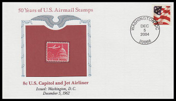C64 / 8c U.S. Capitol and Jet Airliner PCS Commemorative Cover 2004 and Info Card