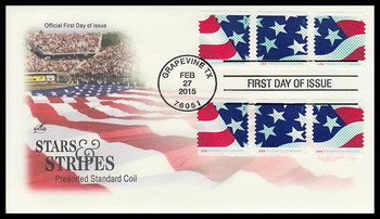 4961 - 4963 / 10c Stars and Stripes All 3 Stamps Twice on One Artcraft 2015 FDC