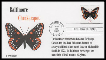 4603 / 65c Baltimore Checkerspot Butterfly : Butterfly Series 2012 FDCO Exclusive First Day Cover