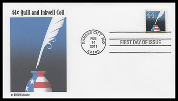 4496 / 44c Patriotic Quill and Inkwell Coil 2011 FDCO Exclusive First Day Cover