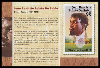 "Jean Baptiste Pointe Du Sable Stamp : Black Heritage 4"" x 6"" Collectible Postcard"