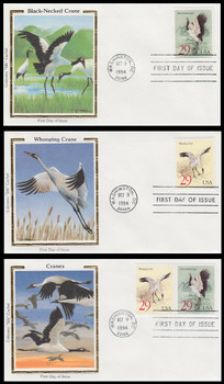 2867 - 2868a / 29c Cranes Set of 3 Colorano Silk 1994 First Day Cover