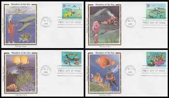 2863 - 2866 / 29c Wonders of the Sea Set of 4 Colorano Silk 1994 First Day Cover