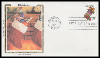 2872 / 29c Stocking : Contemporary Christmas Sheet Issue 1994 Colorano Silk First Day Cover