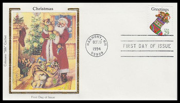 2872a / 29c Stocking : Contemporary Christmas Booklet Issue 1994 Colorano Silk First Day Cover