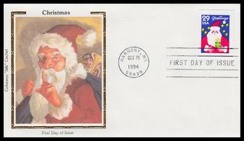 2873 / 29c Santa : Contemporary Christmas 1994 Colorano Silk First Day Cover