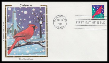 2874 / 29c Cardinal : Contemporary Christmas 1994 Colorano Silk First Day Cover