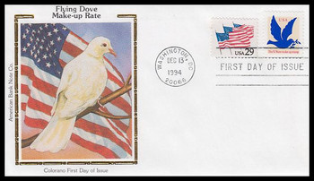 2877 / 3c Dove Make-Up Rate 1994 Colorano Silk First Day Cover