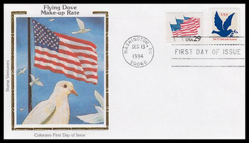2878 / 3c Dove Make-Up Rate 1994 Colorano Silk First Day Cover