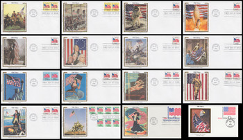 2879 - UX199 / Old Glory Various Rates Set of 16 Colorano Silk 1994 First Day Covers