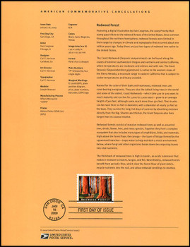 4378 / $4.95 Redwood Forest Priority Mail 2009 USPS #09-05 Souvenir Page