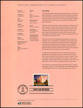 4379 / $17.50 Old Faithful Express Mail 2009 USPS #09-06 Souvenir Page