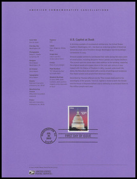 3648 / $13.65 Capitol Dome Express Mail 2002 USPS #0223 Souvenir Page