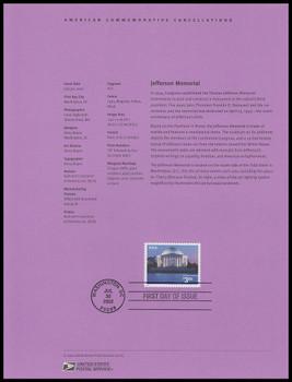 3647 / $3.85 Jefferson Memorial Priority Mail 2002 USPS #0222 Souvenir Page