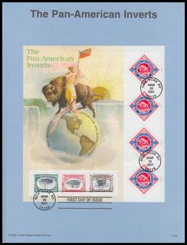 3505 / 1c - 80c Pan American Inverts Sheet 2001 USPS #0125 Souvenir Page