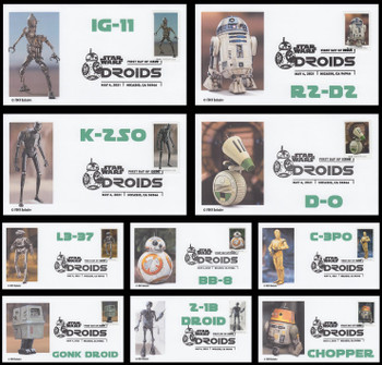 5573 - 5582 / 55c Star Wars Droids Set of 10 FDCO Exclusive 2021 FDCs #2