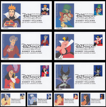 5213 - 5222 / 49c Disney Villains Set of 10 FDCO Exclusive 2017 First Day Covers