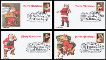5332 - 5335 / 50c Sparkling Holidays : Santa Set of 4 FDCO Exclusive 2018 FDCs