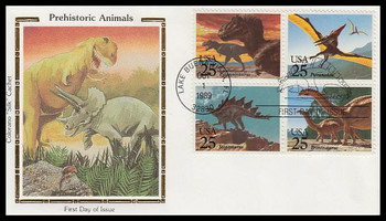 2425a / 25c Prehistoric Animals / Dinosaurs Se-Tenant Block Colorano Silk 1989 First Day Cover