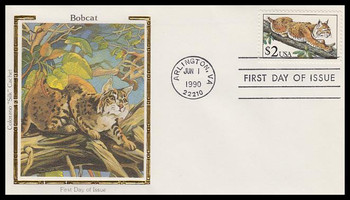 2482 / $2 Bobcat 1990 Colorano Silk First Day Cover