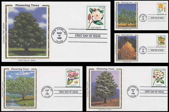 3193 -  3197 / 32c Flowering Trees Set of 5 Colorano Silk 1998 First Day Covers