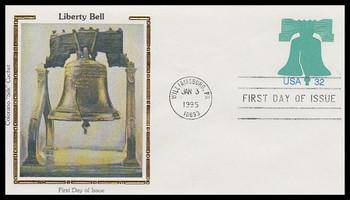 U632 / 32c Liberty Bell Postal Stationary Envelope 1995 Colorano Silk FDC