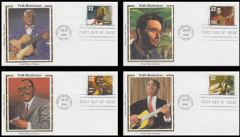 3212 - 3215 / 32c Folk Musicians Set of 4 Colorano Silk 1998 First Day Covers