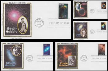 3384 - 3388 / 33c Edwin Powell Hubble : Hubble Space Telescope Set of 5 Colorano Silk FDCs