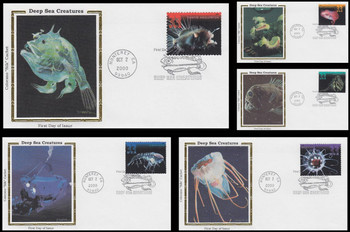 3439 - 3443 / 33c Deep Sea Creatures Set of 5 Colorano Silk 2000 First Day Covers