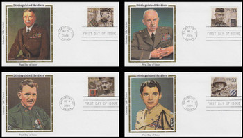 3393 - 3396 / 33c Distinguished American Soldiers Set of 4 Colorano Silk 2000 FDCs