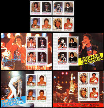 Michael Jackson Set of 8 Stamps and 4 Souvenir Sheets from St Vincent
