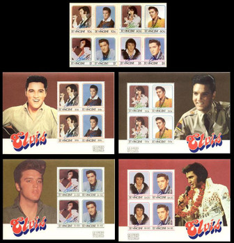 Elvis Presley Set of 8 Stamps and 4 Souvenir Sheets from St Vincent