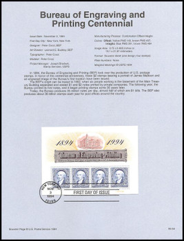 2875 / $2 x 4 Bureau of Engraving and Printing Centennial Souvenir Sheet 1994 USPS # 94-34 Souvenir Page