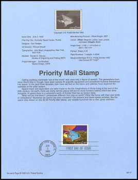 2543 / $2.90 Futuristic Space Shuttle Priority Mail 1993 USPS #93-17 Souvenir Page
