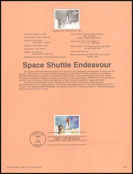2544A / $10.75 Space Shuttle Endeavour Express Mail 1995 USPS #95-31 Souvenir Page