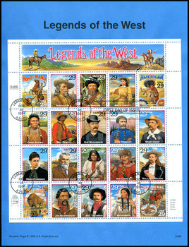 2869 / 29c Legends of the West Complete Sheet of 20 USPS 1994 Souvenir Page