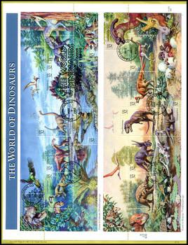 3136 / 32c World of Dinosaurs Pane of 15 : 1997 USPS #9712 Souvenir Page