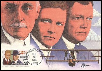 C114 / 39c Lawrence and Elmer Sperry Airmail Aviation Pioneers Series 1985 Fleetwood First Day of Issue Maximum Card