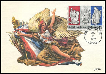 C120 / 45c French Revolution Airmail 1989 Fleetwood First Day of Issue Maximum Card